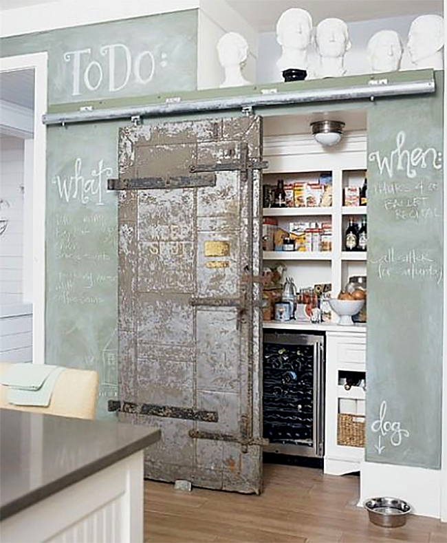 8 pretty pantry door ideas that showcase your storeroom as for Sliding pantry doors
