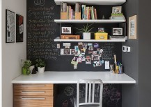 Small home office idea with chalkboard walls