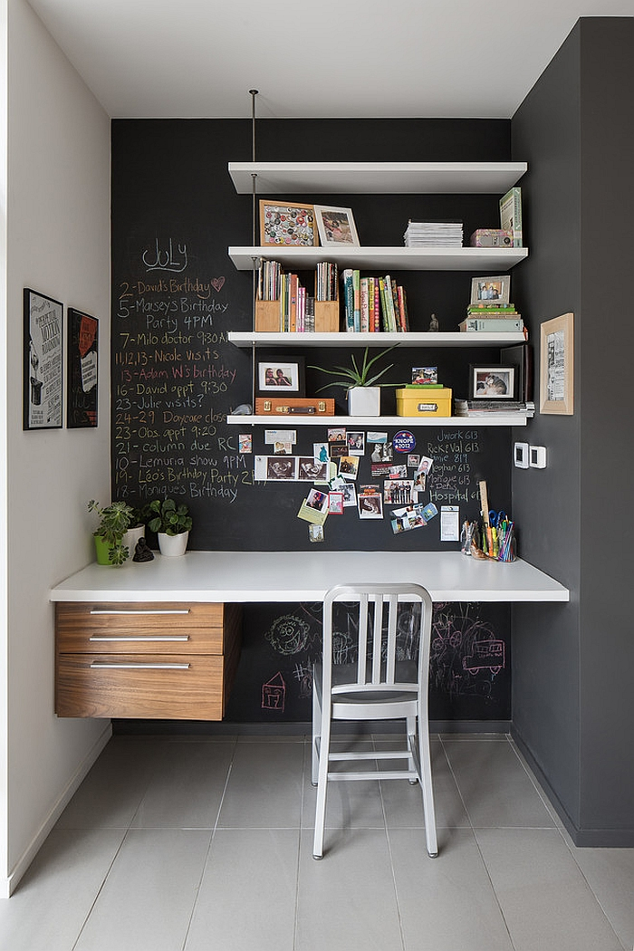 ... Small Home Office Idea With Chalkboard Walls [Design: John Donkin  Architect]