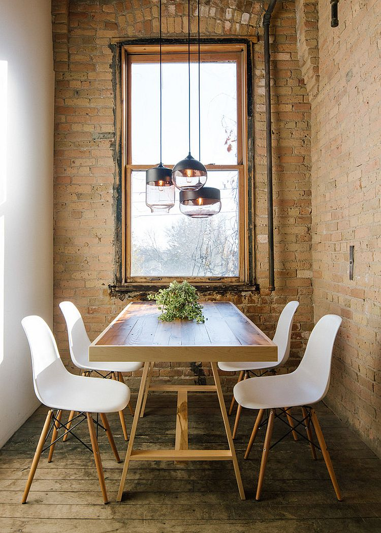 small industrial style dining room with lovely lighting from hennepin made lighting - Dining Room Styles