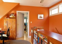 Small office in baked clay orange has a bright, cheerful appeal