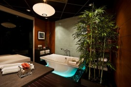 Smart lighting adds to the appeal of the tranquil bathroom