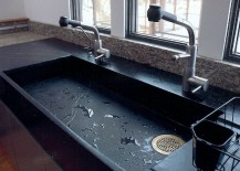 Soapstone Slab Sink 217x155 Get Stoned: 11 Incredible Kitchen Sinks Made from Rock