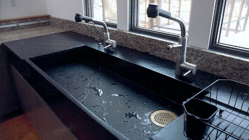 Black Soapstone Slab Sink