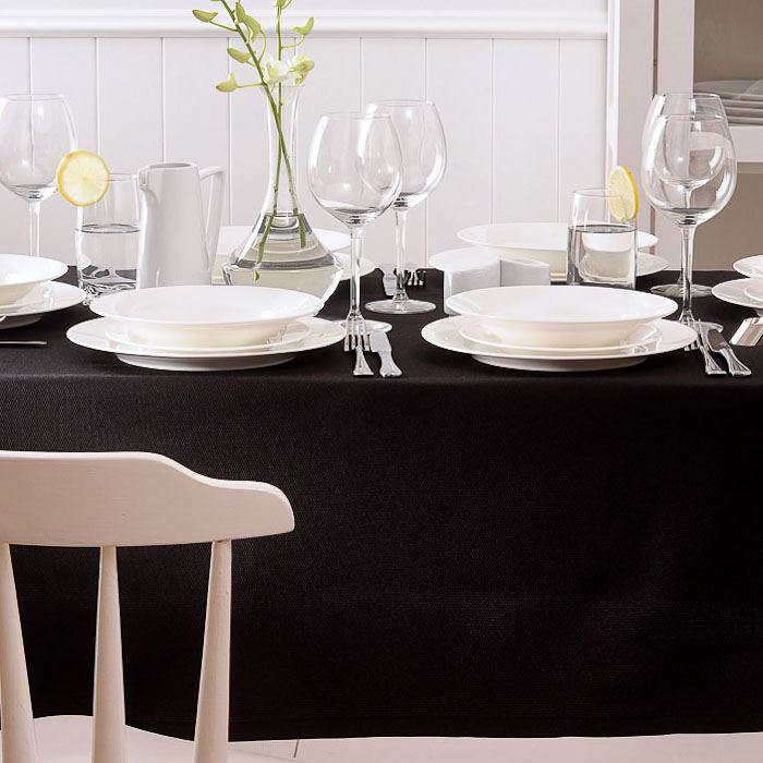 Solid black tablecloth from Homes n Things Create Sophisticated Drama with a Black Tablecloth