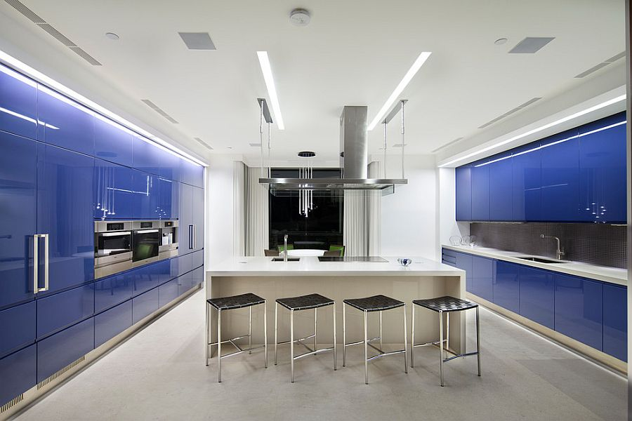 Spacious contemporary kitchen with a splash of blue