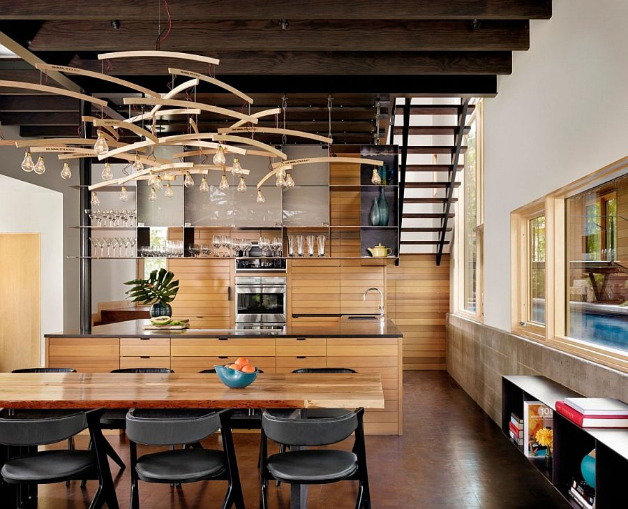 Spacious kitchen and dining area showcase a modern rustic style