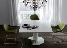 Square dining table in a sleek, contemporary style