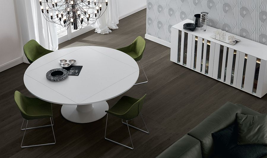 Square dining table that is transformed into a round one