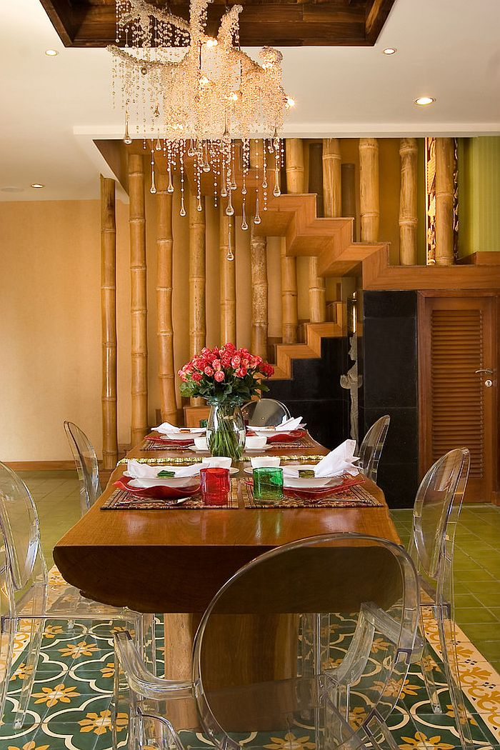 15 inspired ways to bring home the goodness of bamboo for Dining decor ideas
