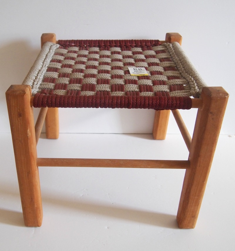 Stool before Easy DIY Woven Footstool