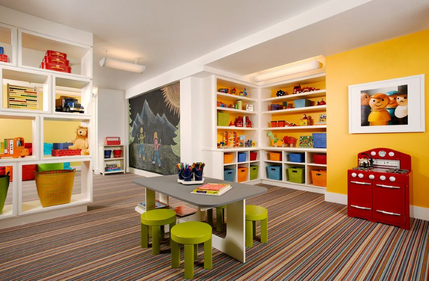 Striped carpet in a children's playroom