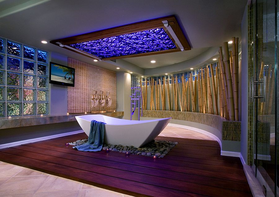 Stunning use of bamboo in the luxurious tropical style bathroom [Design: Amy Weiss Interior Designer / Martin King Photography]