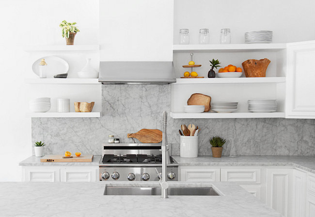 The marble kitchen of the Camille Styles studio