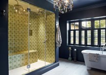 Tiles in the shower bring contrast and an element of surprise to the setting