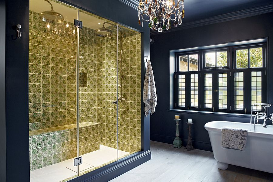 Tiles in the shower bring contrast and an element of surprise to the setting [Design: Godrich Interiors]