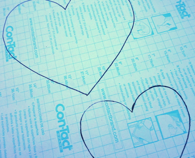 Trace your hearts onto the back of the Contact paper