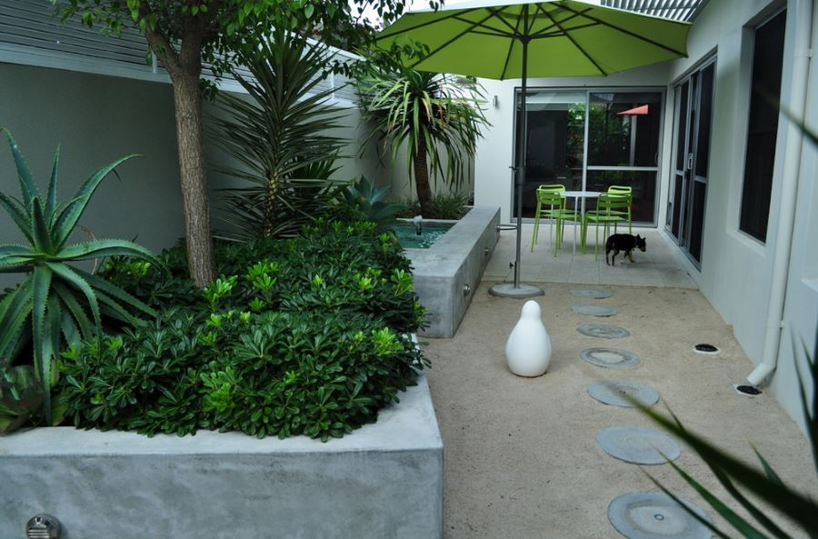 Tropical plants and lime green seating on a Perth patio
