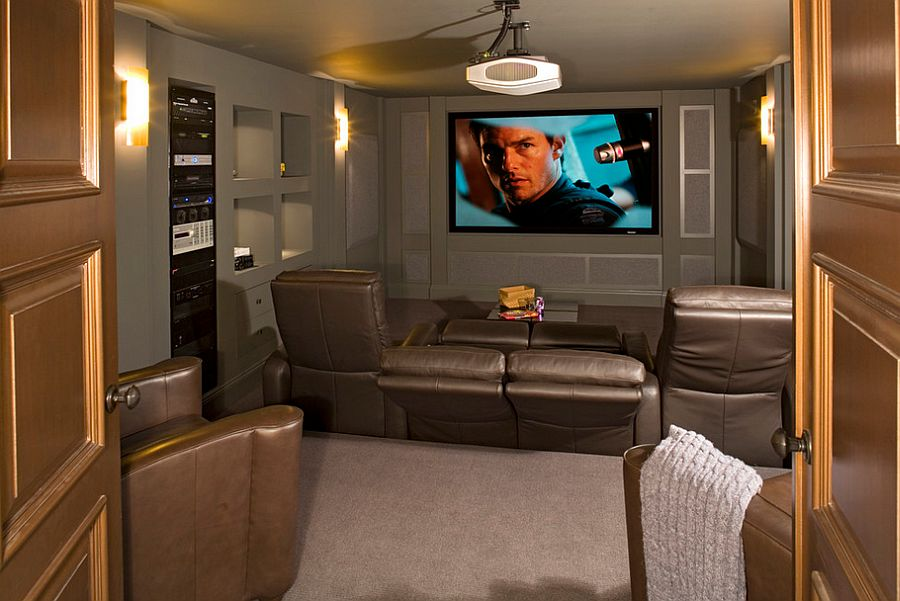 Turn the small basement into a cool home theater decoist for Home theater basement design ideas