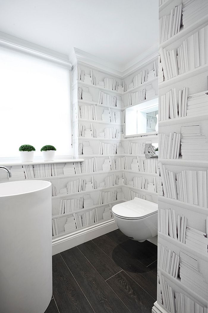 Turn to wallpaper to transform your powder room instantly! [Design: Boscolo Interior Design]