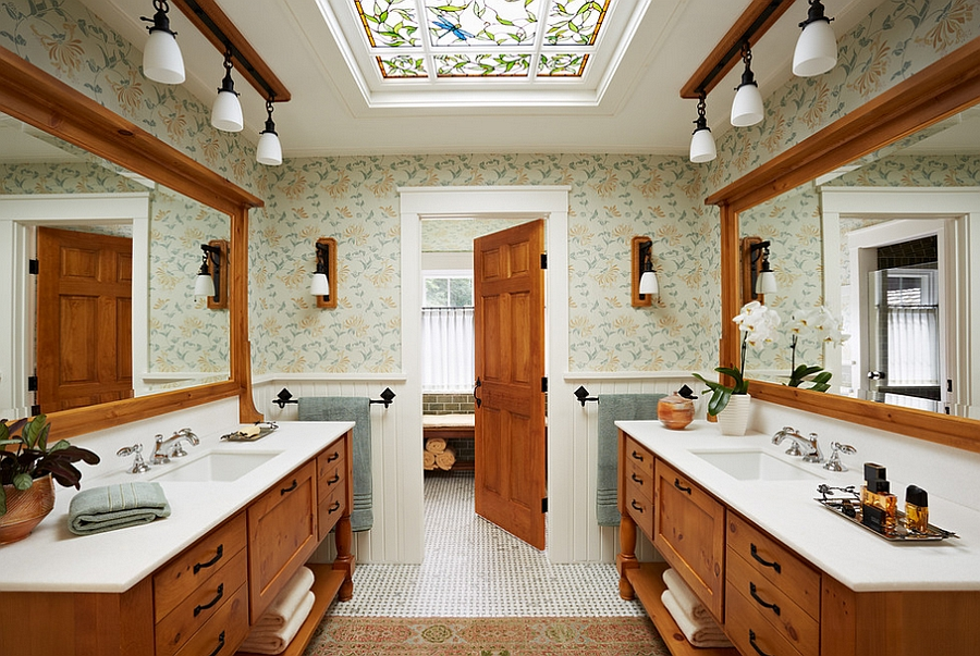 Use a skylight that blends in with the style and the theme of your existing bathroom [Design: David Heide Design Studio]