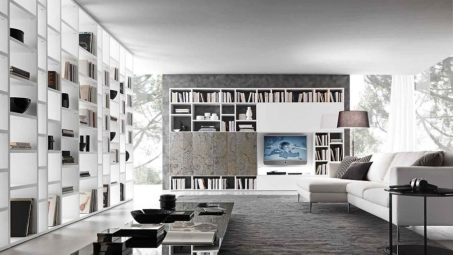 Use bookshelves as a sculptural feature in the living room