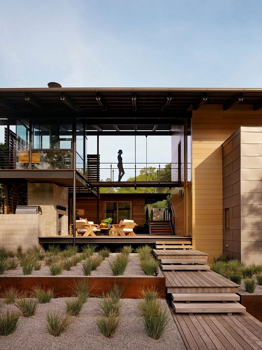 Walkways and terraces shape the beautiful Texas home