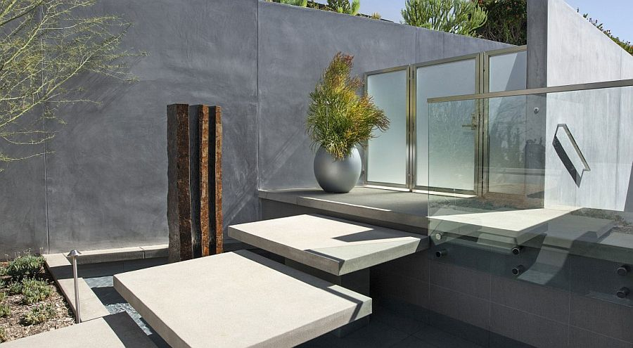 Water fetaure with stepping stones creates a unique and appealing entry to the Californian home