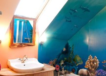 Waterproof wall mural adds color to the small bathroom