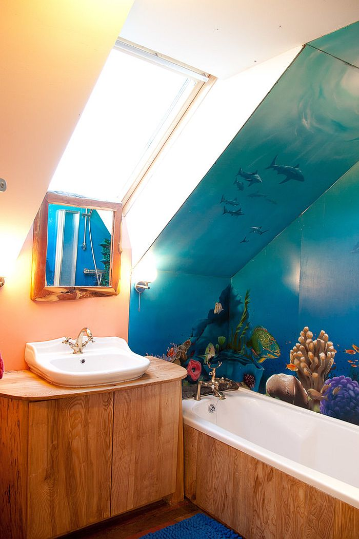 Waterproof wall mural adds color to the small bathroom [Design: Mud and Wood]