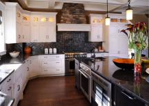 White Mullet Cabinets Built-In Kitchen