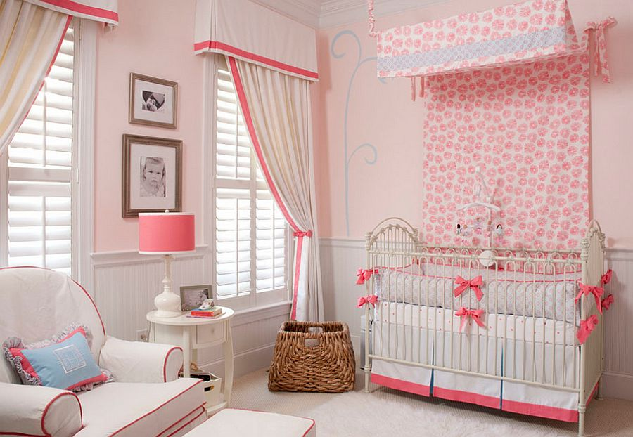 Window coverings add to the style of the nursery [Design: Liz Carroll Interiors]
