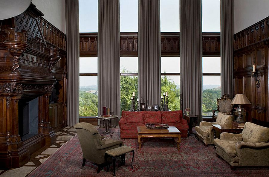 Window curtains define the appeal of this traditional family room [Design: Cravotta Interiors]