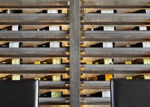 Wine rack that comes alive as a light fixture at night