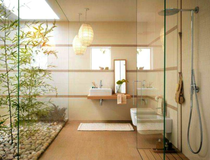 Bamboo perfectly complements the open, Zen style of this bathroom