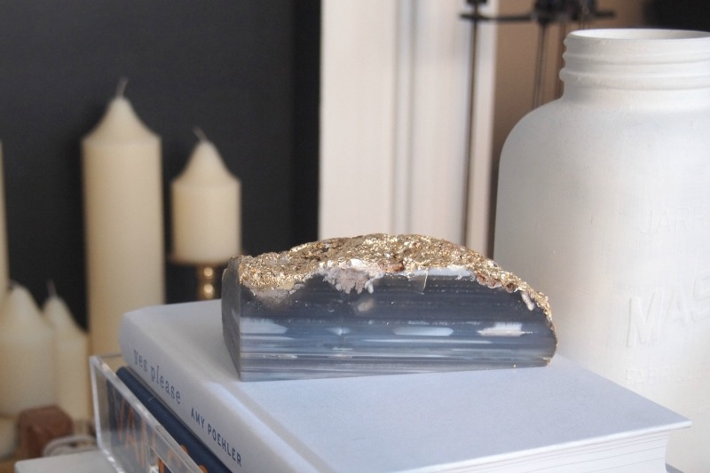 DIY Gold Foil Agate Bookend/Paperweight -  close-up coffee table