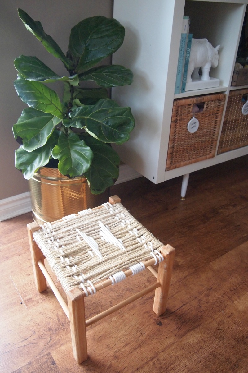 DIY Woven Footstool - finished stool