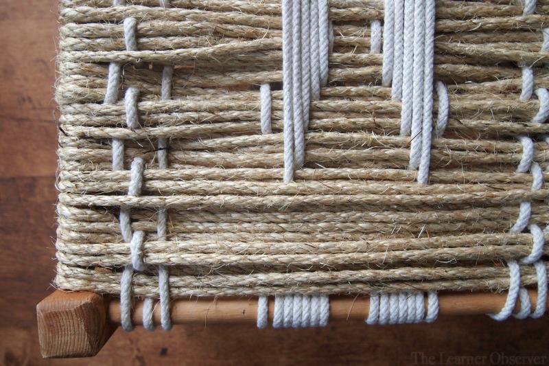 DIY Woven Footstool - closeup