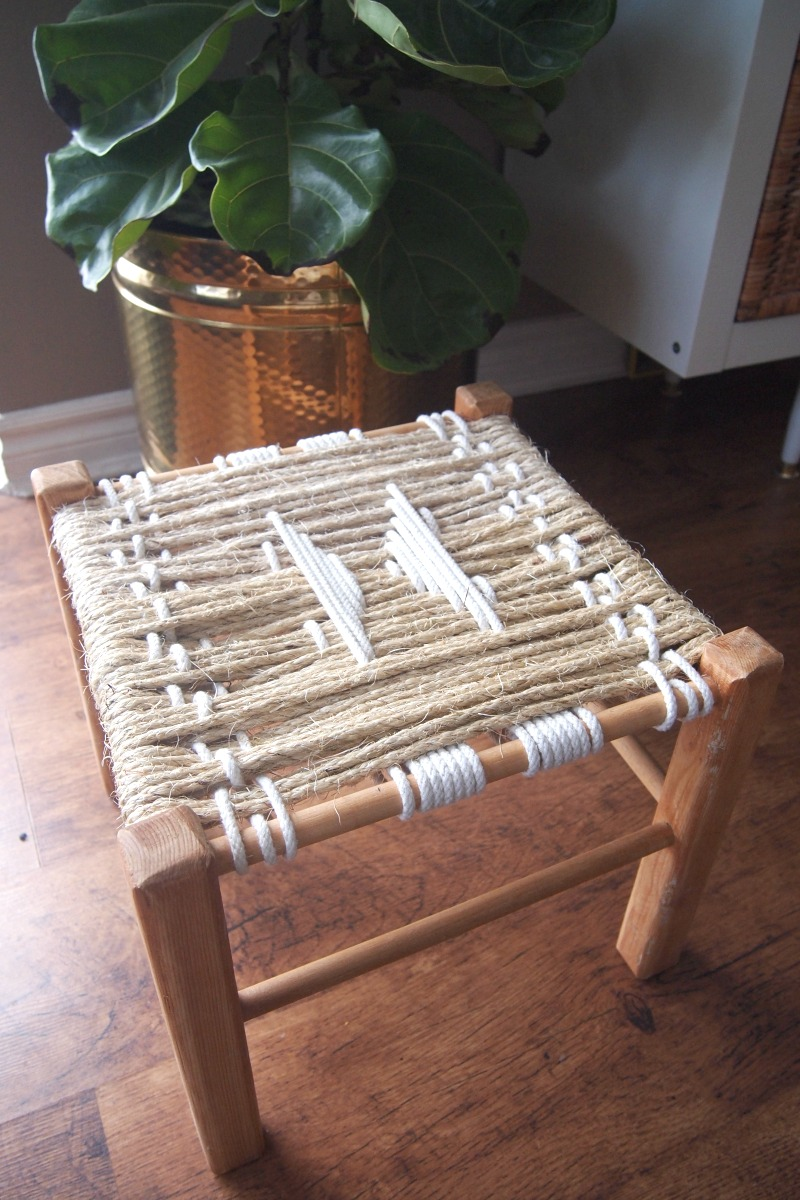 DIY Woven Footstool - finished