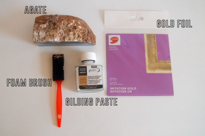 materials for gold foil agate DIY Gold Foil Agate Bookend