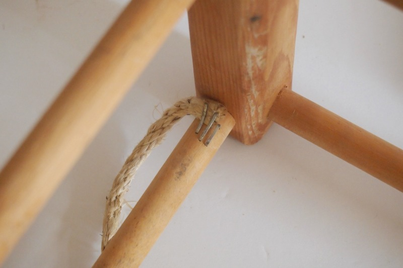 DIY Woven Footstool - staple rope