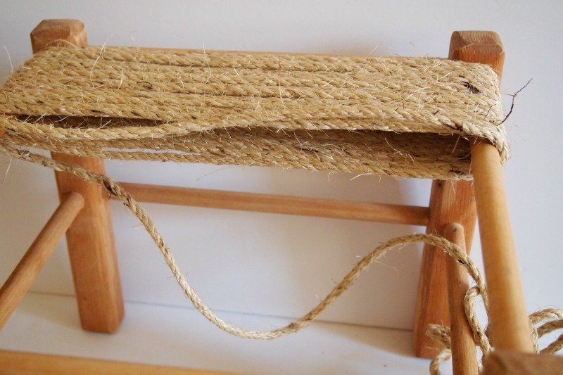 DIY Woven Footstool - makeover