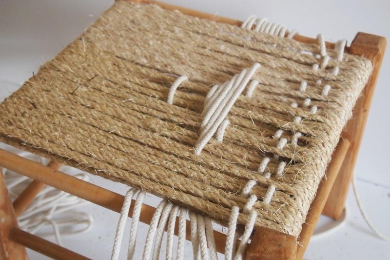 DIY Woven Footstool - threading