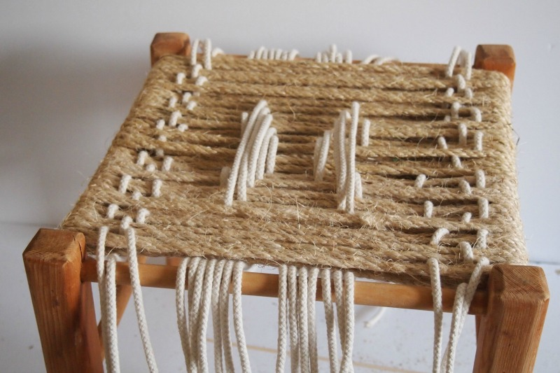 DIY Woven Footstool - threading