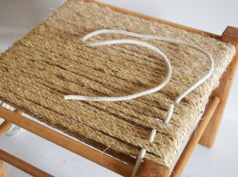 DIY Woven Footstool – threading