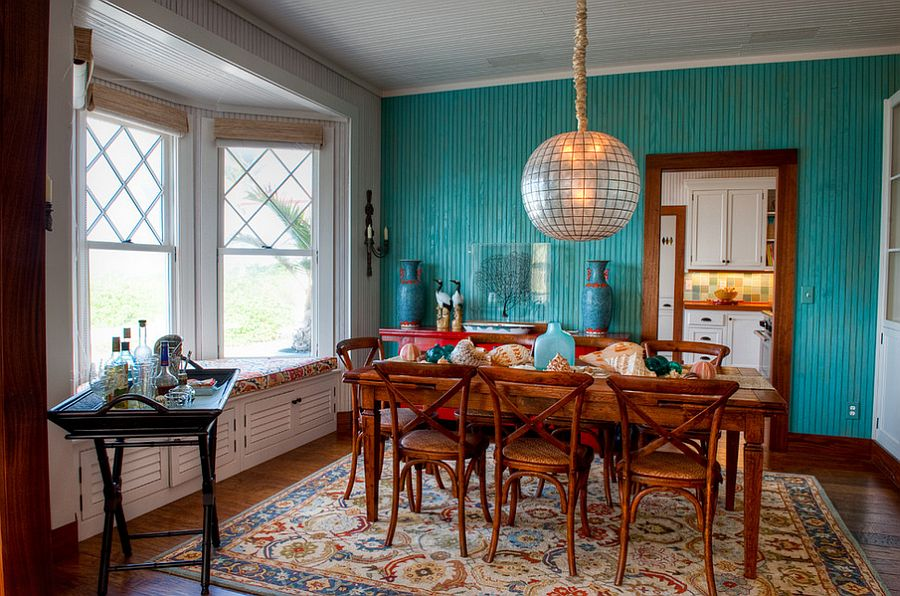 10 dining rooms with snazzy striped accent walls for Teal dining room decorating ideas