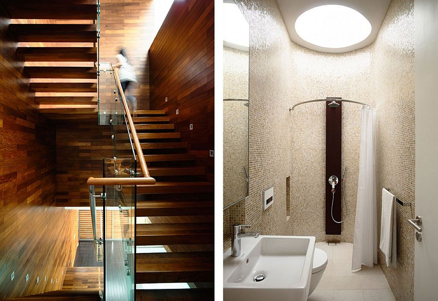A look at the lovely walnut timber staircase and the modern bathroom