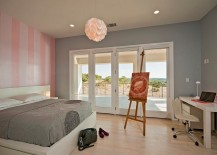 Accent wall brings pink glam into the bedroom