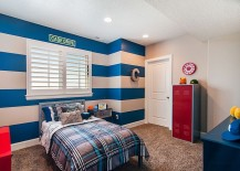 Add energizing color to the kids' bedroom with cool stripes