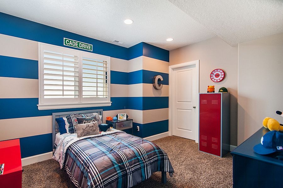 Add energizing color to the kids' bedroom with cool stripes [Design: C.F. Olsen Homes]